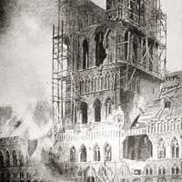 Ypres's shell-blasted Cloth Hall burns in Belgium