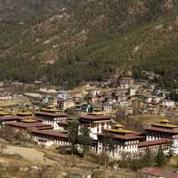 Town at the bottom of the Mountain in Bhutan
