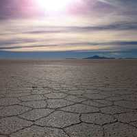 Cracked salt plane surface in Bolivia
