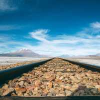 Railtracks into the horizon in Bolivia