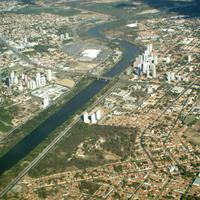 Aerial view of the city, with the Poti River through the city in Teresina, Brazil