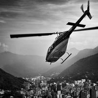 Black and White Helicopter over Rio, Brazil