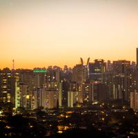 Dusk Skyline with skyscrapers and orange Skies in Sao Paulo, Brazil
