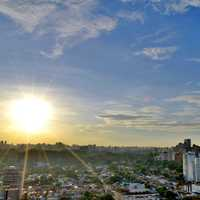 Sky and sun in cityscape in Sao Paulo, Brazil