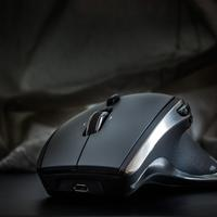 Black gaming mouse closeup