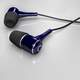 Blue Earphones 3d rendering