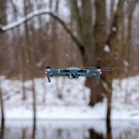 Flying Drone in the Snow