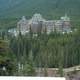 Banff Springs Hotel in the trees in Banff National Park, Alberta, Canada