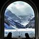 Beautiful Mountain through a window from a dining place in Banff National Park, Alberta, Canada