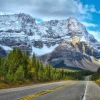Beautiful Scenic Roadway through the Mountains in Banff National Park, Alberta, Canada