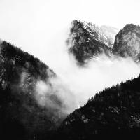 Fog over the Mountains in Banff National Park, Alberta, Canada