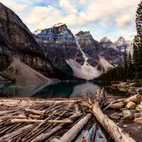 Great Mountain and Lake with wood scenery in Banff National Park