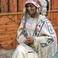 Native American Chief Wax Figure at Native Indian Museum, Banff National Park