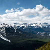 Panorama of the Mountain Tops with snow in Banff National Park, Alberta, Canada