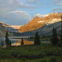 Sunset and dusk landscape near Bow Lake at Banff National Park, Alberta, Canada