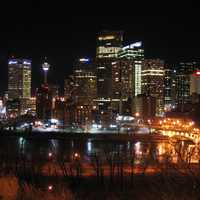 Lighted up Skyline at night in Calgary, Alberta, Canada
