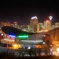 Lights with saddledome and skyline at night in Calgary, Alberta, Canada