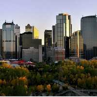 Skyline Landscape at Sunset in Calgary, Alberta, Canada