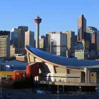 The Saddledome and the Skyline with towers in Calgary, Alberta, Canada