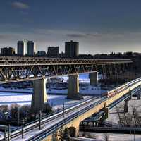 Light Rail Transit train crossing the Menzies Bridge in Edmonton