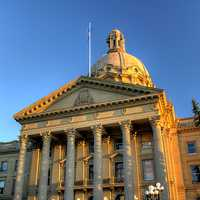 Main entrance to the Alberta Legislature in Edmonton