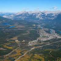Aerial View of the landscape of Jasper National Park, Alberta, Canada