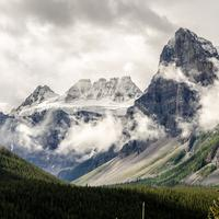Beautiful misty mountains at Jasper National Park, Alberta, Canada