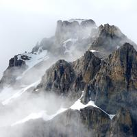 Fog around the Mountaintop at Jasper National Park