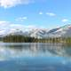 Lake Landscape of Lake Beauvert in Jasper National Park, Alberta, Canada