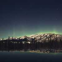 Night landscape, reflection, and Aurora in Jasper National Park, Alberta, Canada