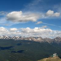 Panoramic View of the mountains and landscape in Jasper National Park, Alberta, Canada