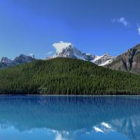 Scenic landscape with clear lake and Mountains in Jasper National Park, Albert, Canada