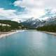 Scenic River Landscape and mountains in Jasper National Park, Alberta, Canada