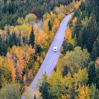 Vehicle going through autumn falls on the road in Jasper National Park, Alberta, Canada
