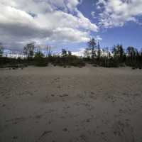 Clouds over the sand dune at Lesser Slave Lake Provincial Park