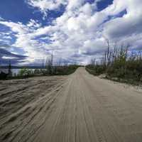 Path around Lesser Slave Lake with sky and clouds
