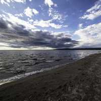 Sandy Shoreline with low clouds at Lesser Slave Lake