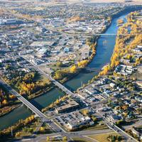 Aerial shot of the Cityscape of Red Deer, Alberta