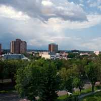 Downtown and skyline of Lethbridge in Alberta