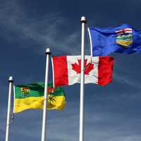 Flags of Canada, Alberta, and Saskatchewan in Lloydminster