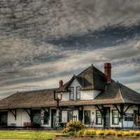 Historic Fort Saskatchewan railway station in Alberta