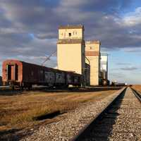 Mossleigh Alberta Canada railroad and barns