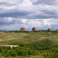 Skyline of downtown Lethbridge in Alberta, Canada