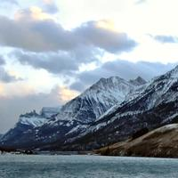 Mountains and Lake Landscape of Upper Waterton lake in Alberta, Canada