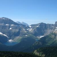 View of the mountain landscape from the top of the summit trail in Waterton Lakes State Park