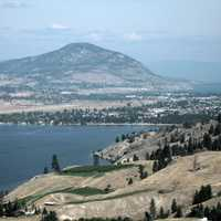 Aerial view of Penticton, Skaha Lake landscape in British Columbia, Canada
