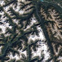 Glacier National Park as seen from space in British Columbia, Canada
