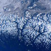 Mountains flyover on the International Space Station in British Columbia, Canada