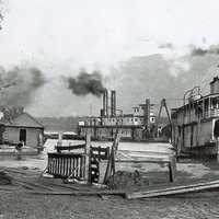Steamboats on the river near Chiliwack, British Columbia, Canada