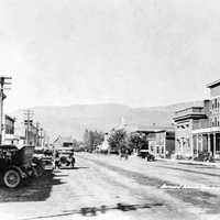 Streets of Kelowna in 1920 in British Columbia, Canada